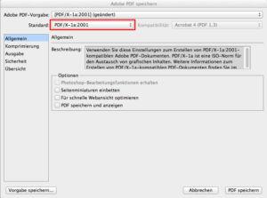 Adobe PDF speichern - Allgemein