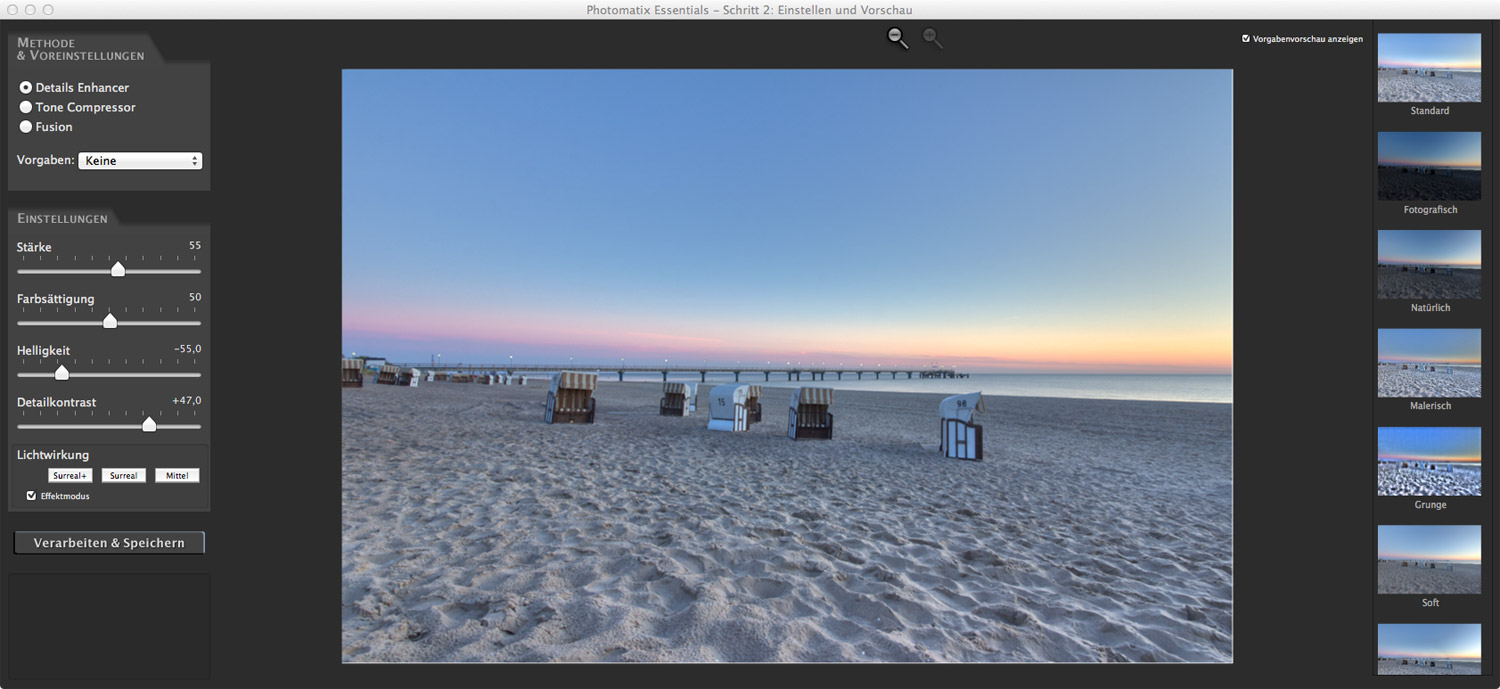 HDR Workflow: Einstellung in Photomatix Essentials