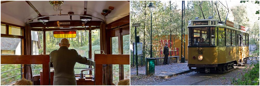 Eine der historischen Straßenbahnen im Openluchtmuseum in Arnheim (NL).