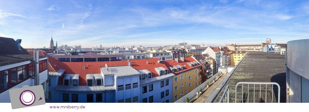 iPhone Panorama: Aussicht vom Dach des Hotal Cristal in München