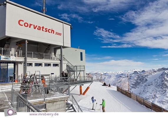 Corvatsch Bergstation auf 3303 Meter Höhe.