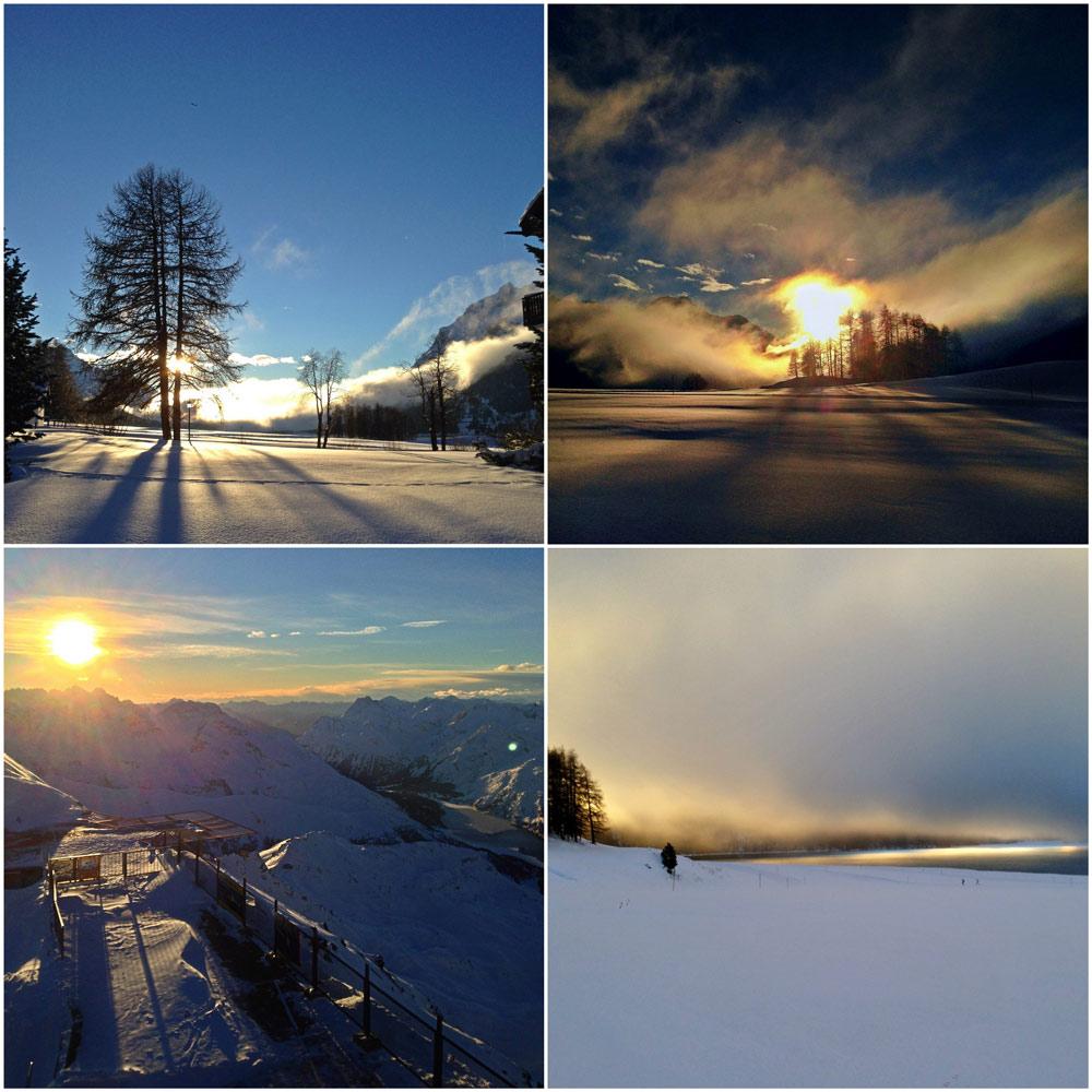 Wolken, Licht und Schatten in den Schweizer Alpen