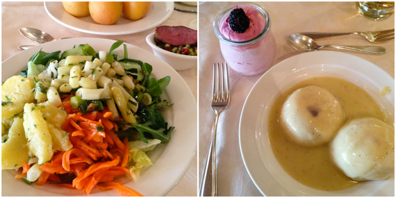 Salat & Germknödel in Vanillesoße im Leading Family Hotel & Resort ALPENROSE
