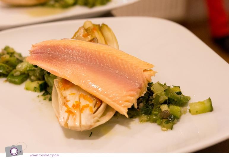 Kochen im Koch Kontor, der Hauptgang: Grüne Ratatouille mit süß geschmortem Chicorée
