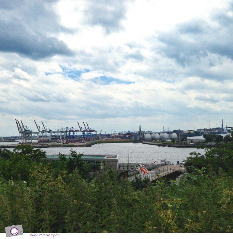 Blick vom Altonaer Balkon auf den Hafen