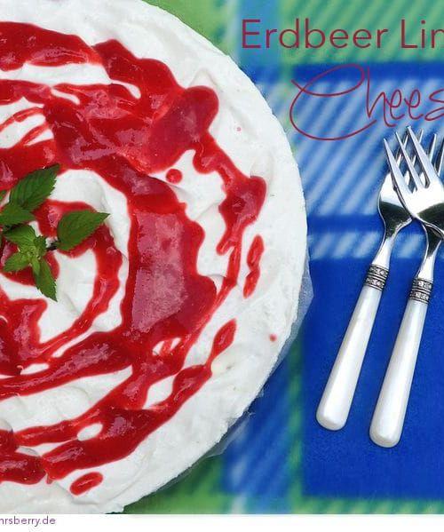 Erdbeer-Limetten Cheesecake: sommerliche Frischkäse Torte