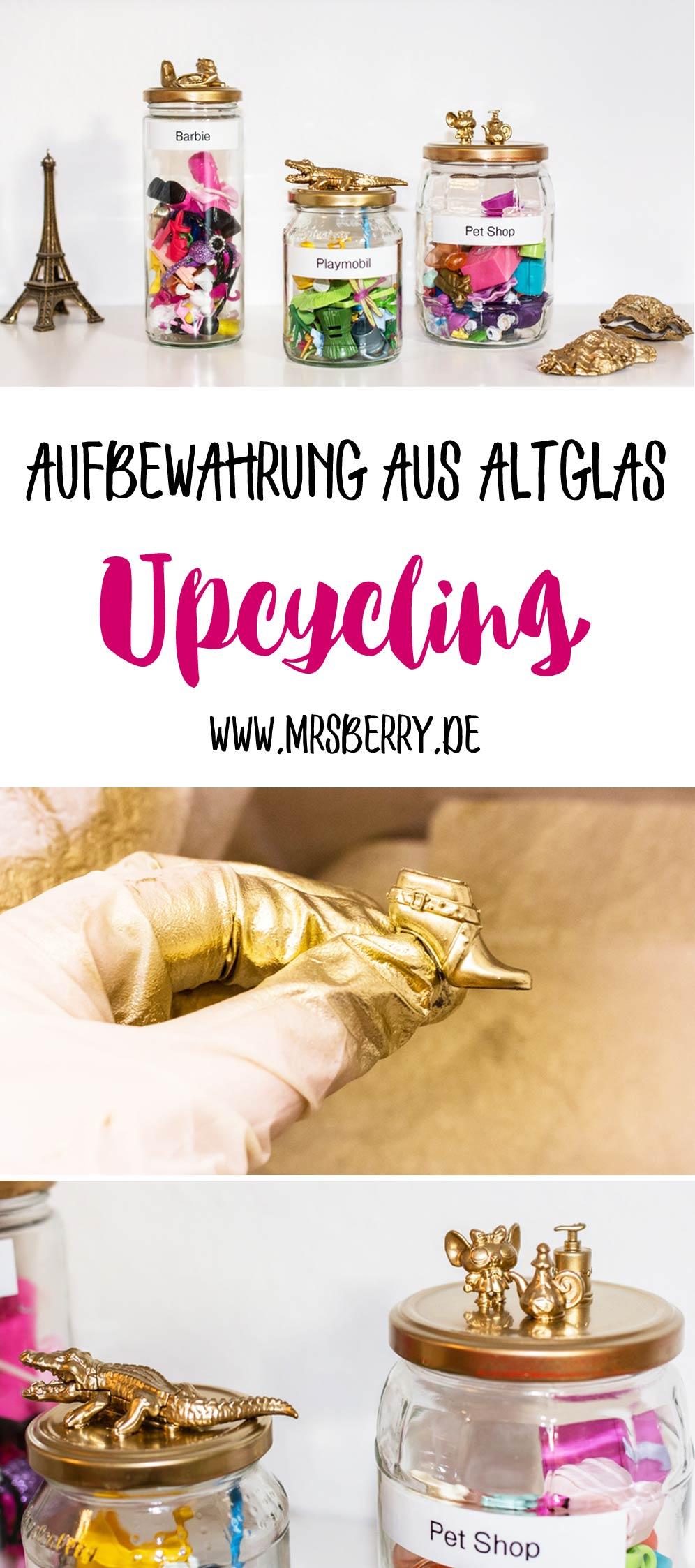 DIY Upcycling Idee: Aufbewahrung aus Altglas basteln | Eignet sich hervorragend zum Sammeln von Spielzeug und Kleinteilen im Kinderzimmer.