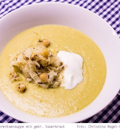 Rezept: Kichererbsensuppe mit gebratenem Sauerkraut