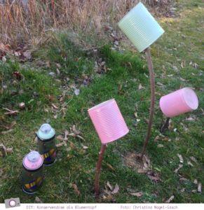 DIY: Basteln mit Konservendosen - Upcycling zum Blumentopf - Dosen mit Acrylfarbe besprühen