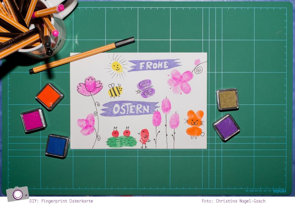 Basteln zu Ostern: Fingerprint-Osterkarten nach Ed Emberley