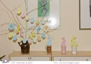 Osterdeko basteln: Buchstabenanhänger und Eiergirlande