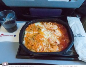 Essen im Flugzeug: Sansibar Gourmet Menüs von Air Berlin - Garnelen mit Risotto