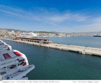 Mittelmeer Kreuzfahrt mit der Norwegian Epic - Einlaufen in den Hafen von Palma de Mallorca
