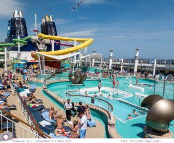 Mittelmeer Kreuzfahrt mit der Norwegian Epic - Aqua Park auf dem Sonnendeck