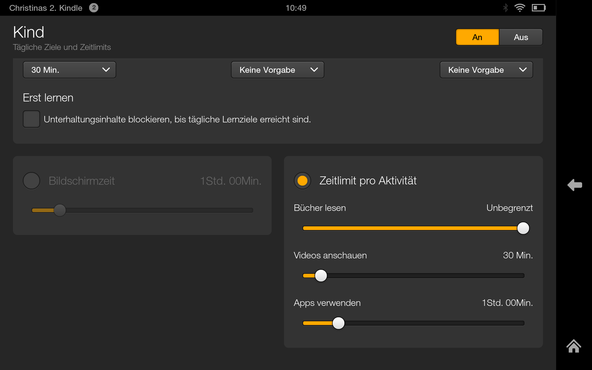 Kindle mit FreeTime Funktion