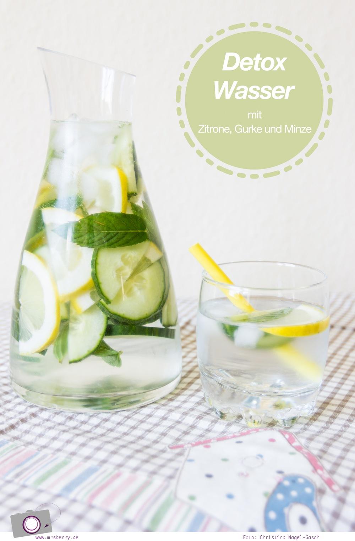 Detox Wasser mit Zitrone, Gurke und Minze