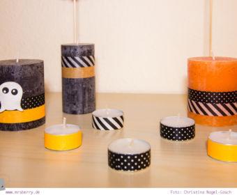 DIY Halloween Dekoration basteln: mit Kerzen und Masking Tape