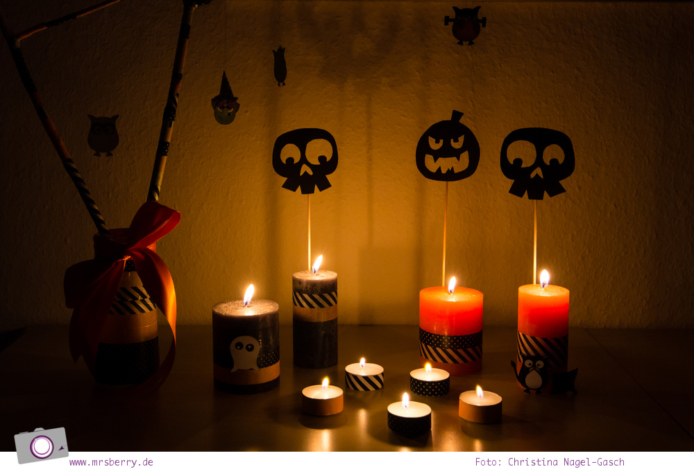 DIY Halloween Dekoration basteln: gruselige Stimmung mit Kerzen und Masking Tape