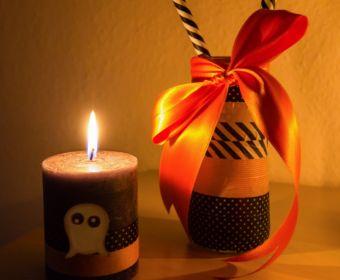 DIY Halloween Dekoration basteln: Kerze mit Masking Tape