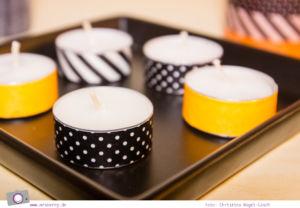DIY Halloween Dekoration basteln: Teelichter mit Masking Tape