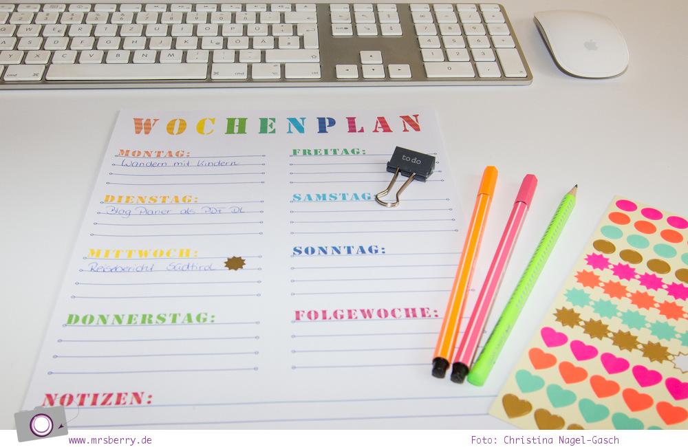 Wochenplan für Blog, Familie, Büro und Freizeit