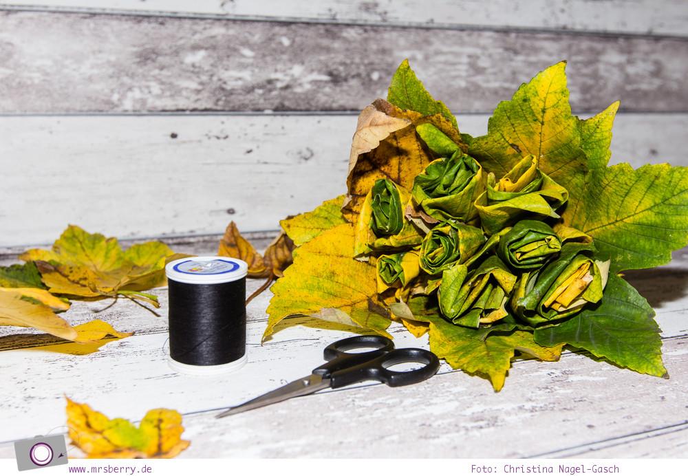 Herbst DIY ein Blumenstrauß aus Blättern basteln