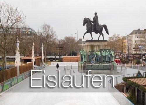 Eislaufen mit Kindern: auf dem Weihnachtsmarkt in der Kölner Altstadt