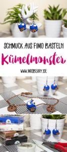 DIY Idee: Krümelmonster Schmuck aus Fimo basteln   Eine tolle Bastelidee für Kinder.