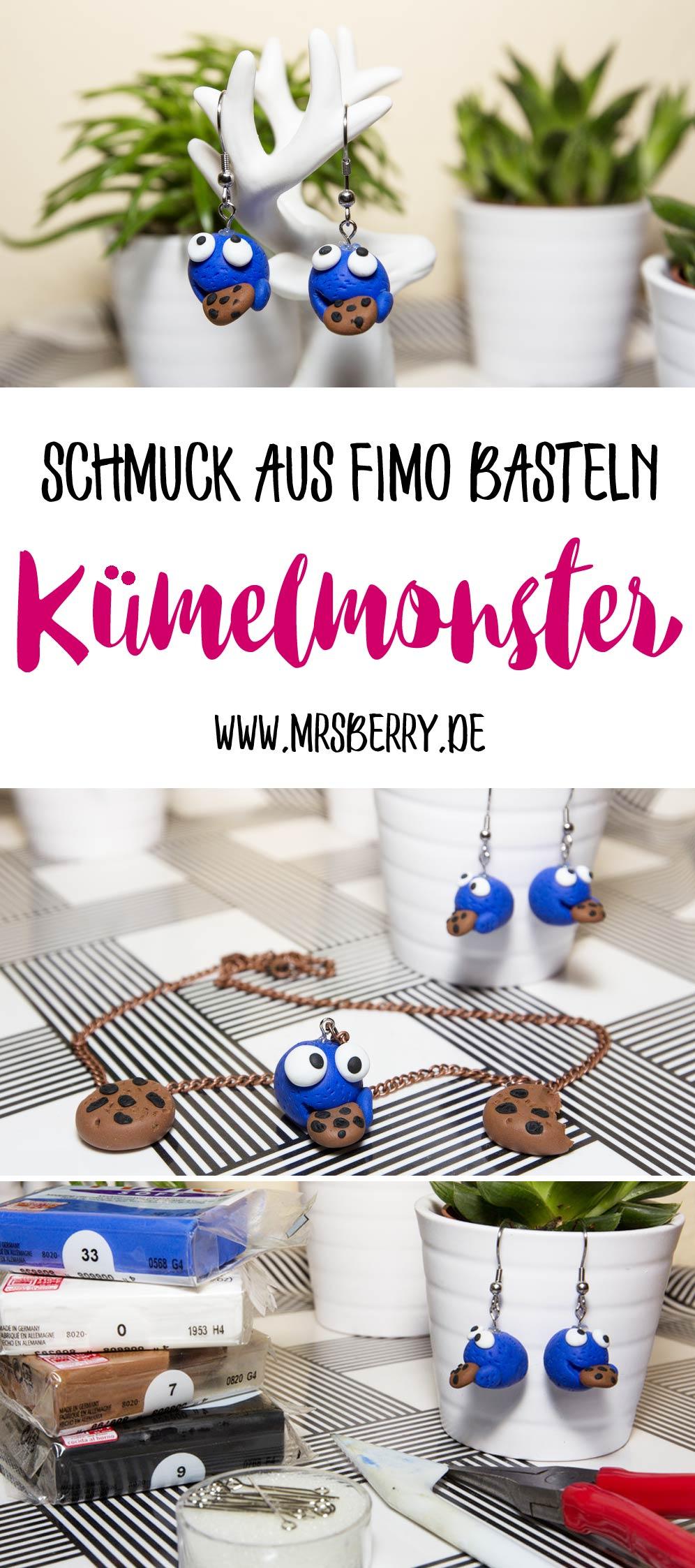 DIY Idee: Krümelmonster Schmuck aus Fimo basteln | Eine tolle Bastelidee für Kinder.