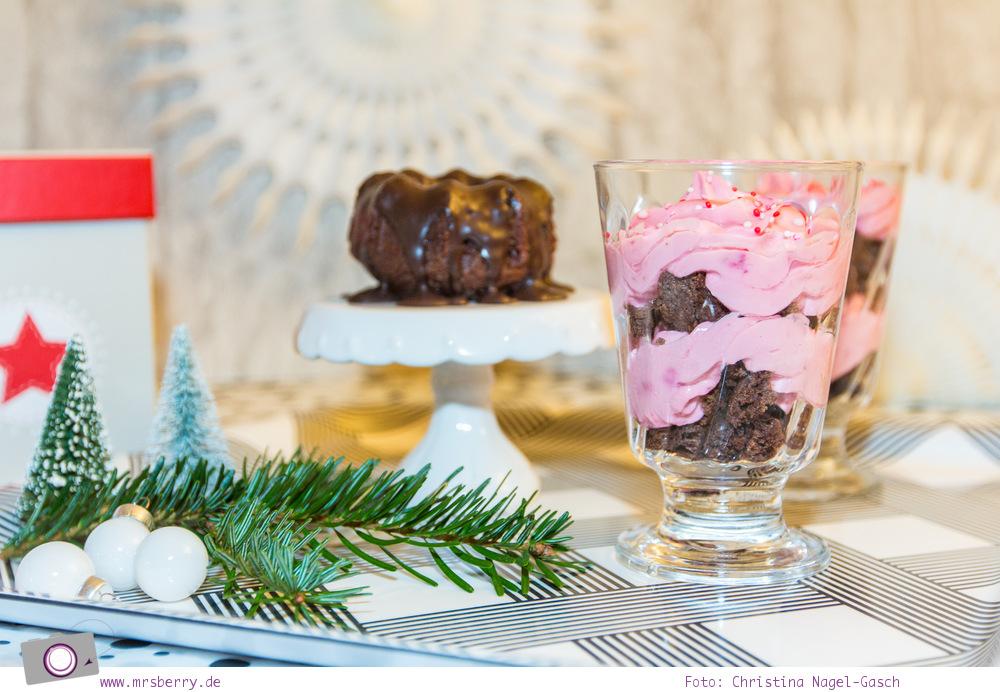 Schokoladen-Guglhupf und Schokoladen-Himbeer-Hüchlein im Glas