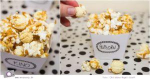 Geschenktipp DIY: Kino Gutschein basteln mit selbstgemachtem Popcorn und Schoko-Frischkäse Muffins