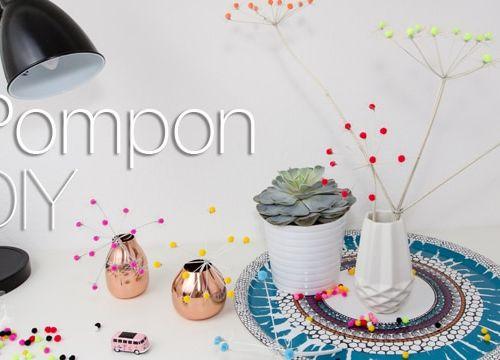 Pompon DIY: Doldenblüten mit bunten Filzkugeln aufgepeppt
