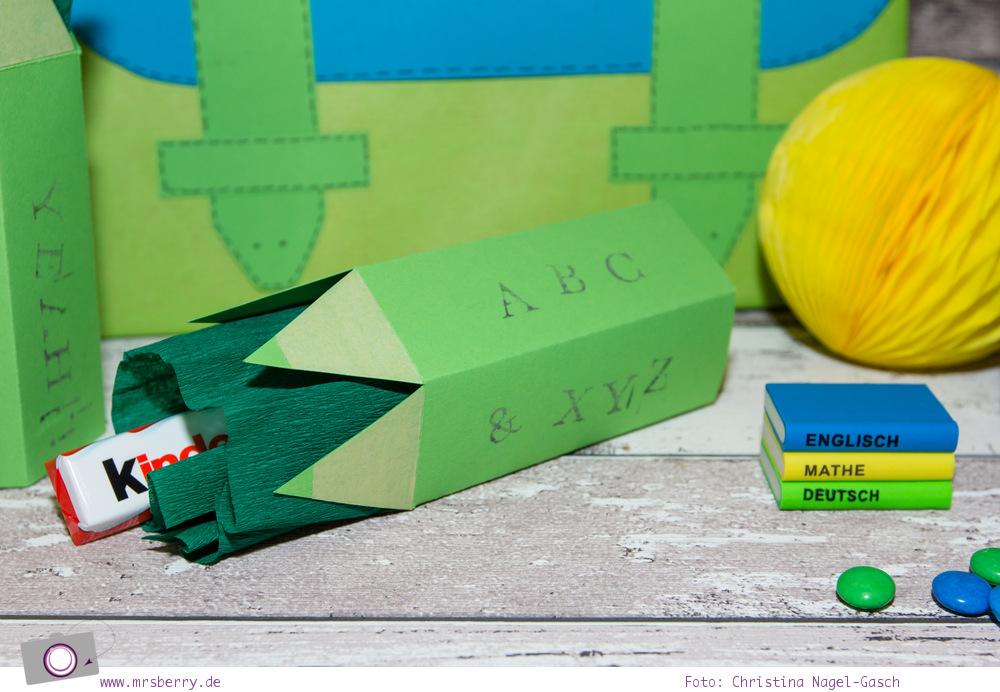 Geschenke schön verpacken: Buntstifte zur Einschulung basteln