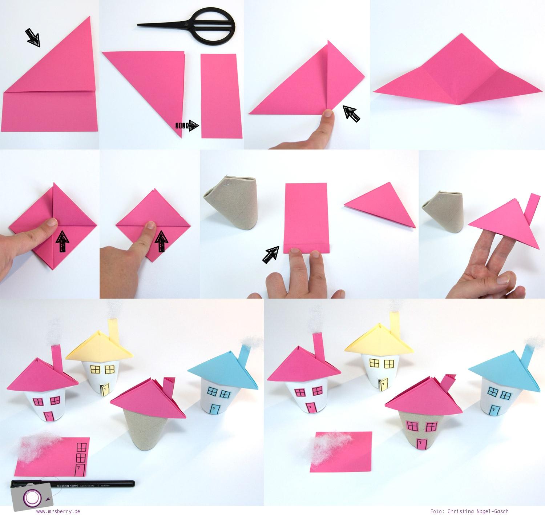 Adventskalender selber machen: Haus aus Klorollen basteln - Anleitung schritt für Schritt Teil 2 (Dach falten)