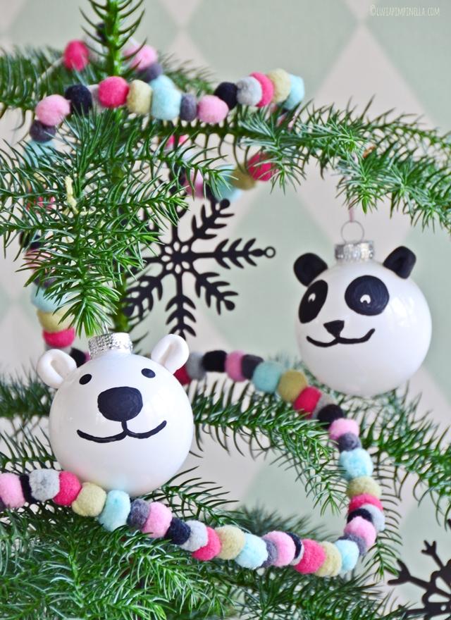 Weihnachtskugeln selbst bemalen: Panda & Eisbär nach Luzia Pimpinella