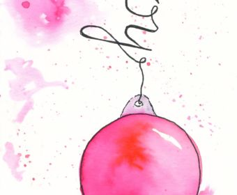 Last Minute Karten zu Weihnachten selber machen | Watercolor Christmas Card with Ornaments