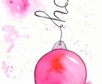 Last Minute Karten zu Weihnachten selber machen | Watercolor Christmas Card with Ornaments