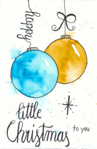 Last Minute Karten zu Weihnachten selber machen | Watercolor Christmas Card with Ornaments | little Christmas