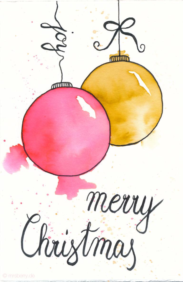 Last Minute Karten zu Weihnachten selber machen | Watercolor Christmas Card with Ornaments | merry Christmas