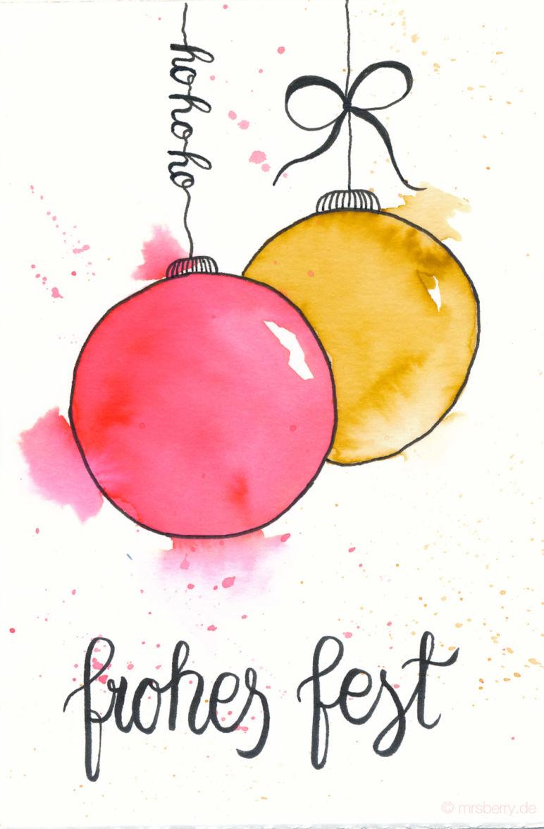 Last Minute Karten zu Weihnachten selber machen | Watercolor Christmas Card with Ornaments | frohes fest