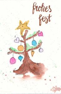 Last Minute Karten zu Weihnachten selber machen | Watercolor Christmas Card with Tree