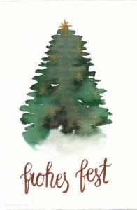 Last Minute Karten zu Weihnachten selber machen   Watercolor Christmas Card with Tree
