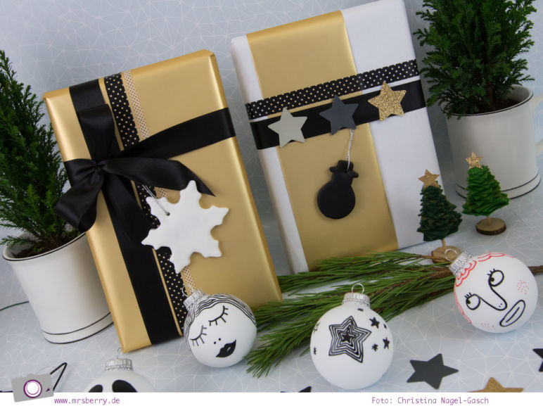 Geschenke schön verpacken - Weihnachtsgeschenke in Weiß, Schwarz und Gold
