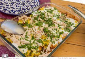 Rundreise Jordanien - ein Reisebericht: Arabisch kochen in der Kochschule Beit Sitti in Amman - hier Fattet Jaj