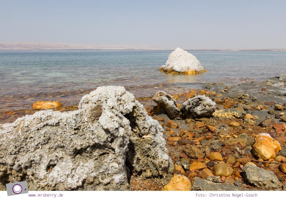 Rundreise Jordanien - ein Reisebericht: salzbedeckte Steine am Toten Meer