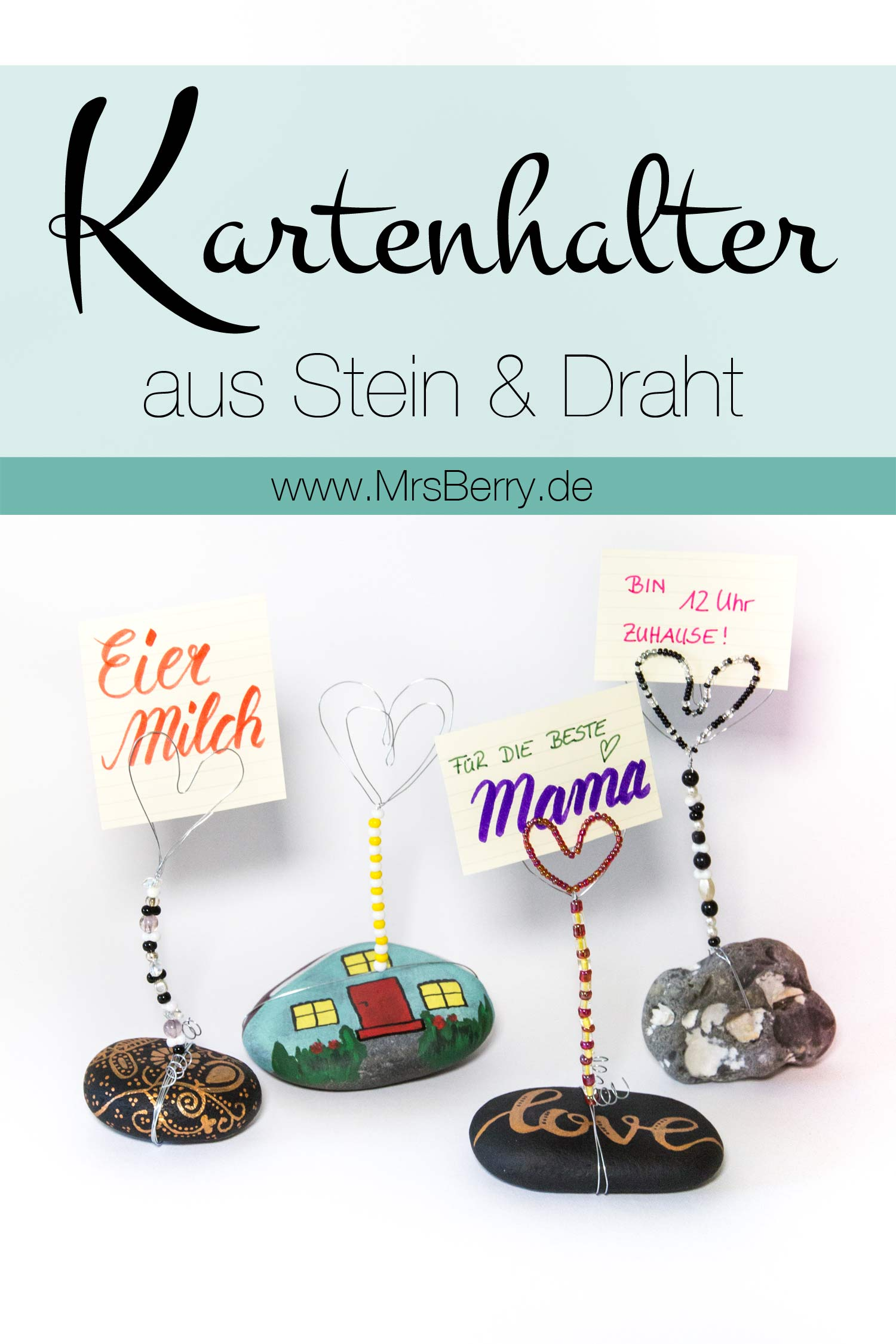 diy kartenhalter aus steinen draht basteln mrsberry. Black Bedroom Furniture Sets. Home Design Ideas