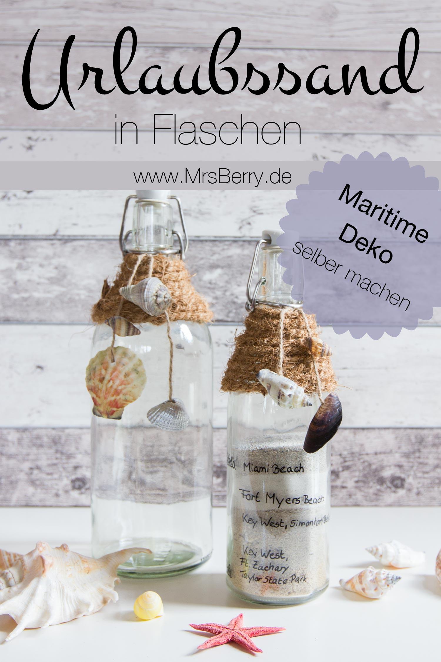 Maritime Deko Basteln: Urlaubssand Aufbewahren In Flaschen Mit Muscheln.  Maritime Deko Selber Machen ...