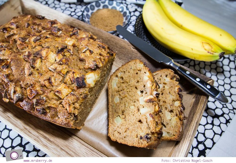 Rezept für Apfel-Zimt-Bananenbrot - ein Bananenbrot ohne Nüsse