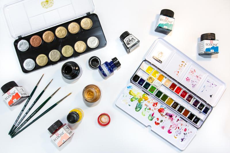 Lettering Guide: Materialien, Tipps & Tricks für Hand Lettering und Brushlettering - für Anfänger und Fortgeschrittene: Pinsel und Farben