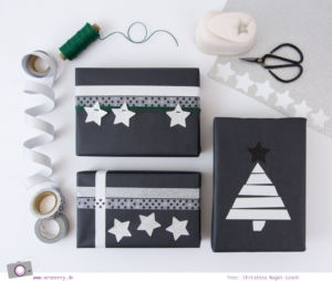 DIY: Geschenke schön verpacken für Weihnachten - mit schwarzem Kraftpapier, Masking Tape und Glitzer-Strenchen